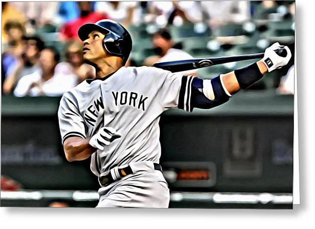 Alex Rodriguez Painting Greeting Card by Florian Rodarte