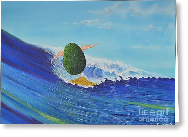 Alex The Surfing Avocado Greeting Card