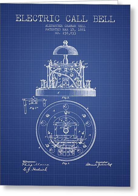 Alexander Bell Electric Call Bell Patent From 1881 - Blueprint Greeting Card by Aged Pixel