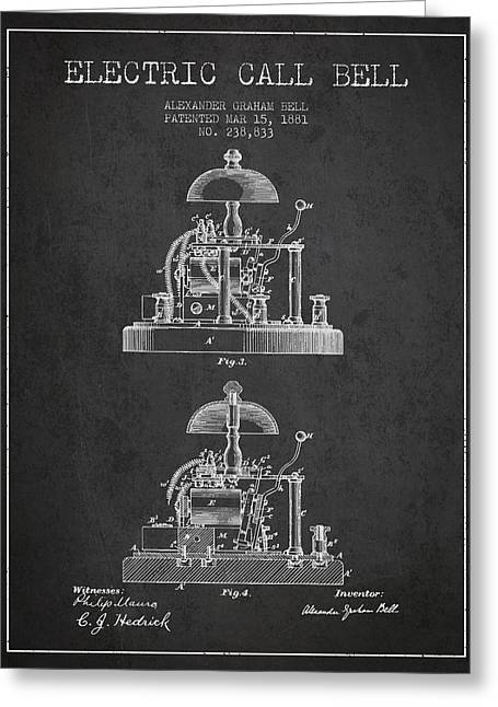 Alexander Bell Electric Call Bell Patent From 1881 - Dark Greeting Card