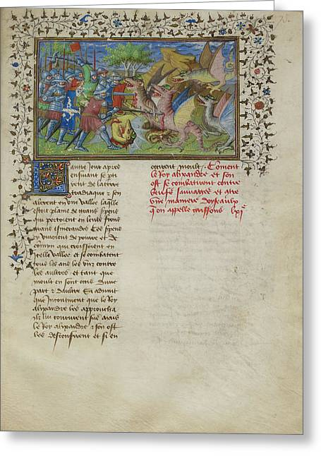 Alexander Fights Dragons Greeting Card by British Library