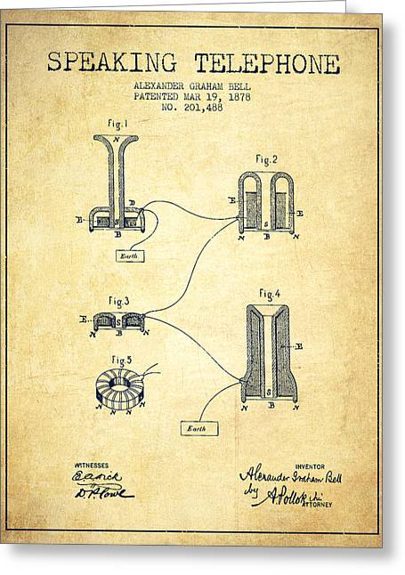 Alexander Graham Bell Speaking Telephone Patent From 1878 - Vint Greeting Card by Aged Pixel