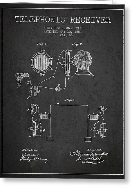 Alexander Graham Bell Telephonic Receiver Patent From 1881- Dark Greeting Card by Aged Pixel