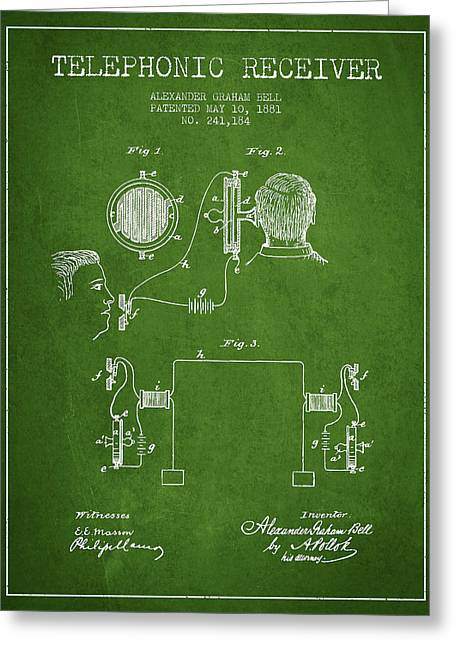 Alexander Graham Bell Telephonic Receiver Patent From 1881- Gree Greeting Card by Aged Pixel