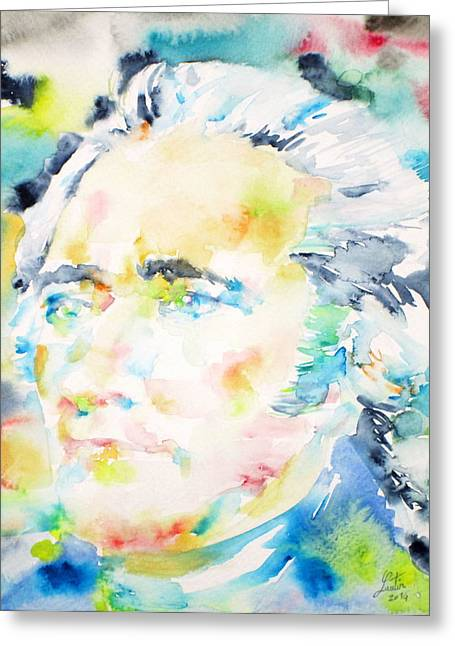Alexander Hamilton - Watercolor Portrait Greeting Card by Fabrizio Cassetta