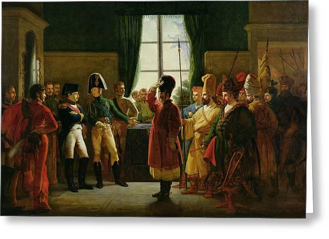 Alexander I 1777-1825 Presenting The Kalmuks, Cossacks And Bashkirs To Napoleon I 1769-1821 Greeting Card