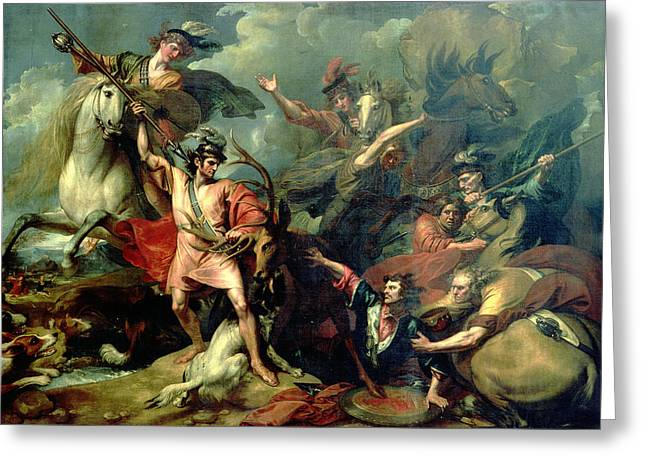 Alexander IIi Of Scotland Rescued From The Fury Of A Stag By The Intrepidity Of Colin Fitzgerald Greeting Card
