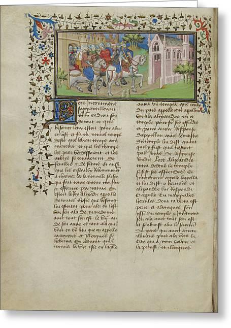 Alexander Leaving Macedon Greeting Card by British Library