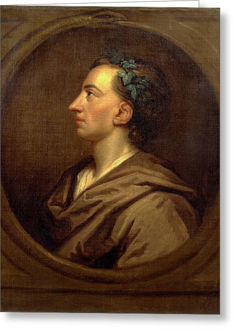 Alexander Pope Profile, Crowned With Ivy Greeting Card