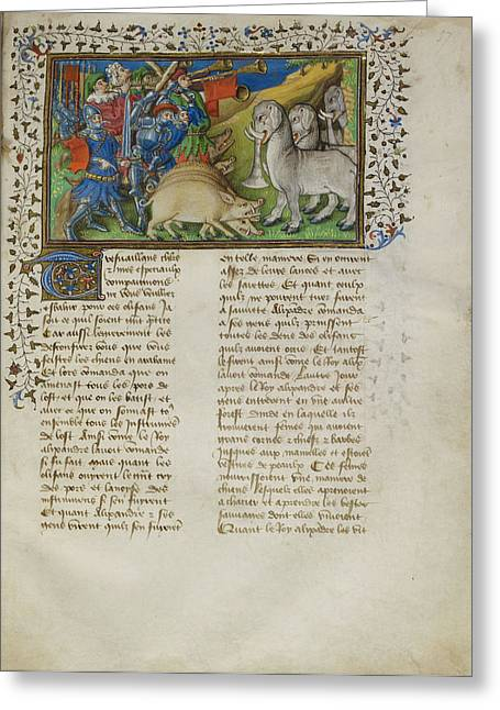 Alexander Repels Elephants Greeting Card by British Library
