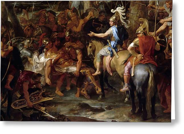 Alexander The Great And Raja Por In The Battle Of Hydaspes Greeting Card by Celestial Images