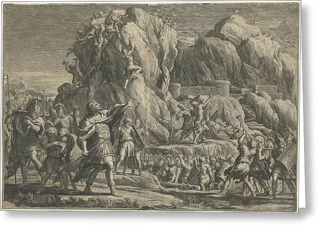 Alexander The Great Takes The City Of Petra Greeting Card by Cornelis Bloemaert (ii)