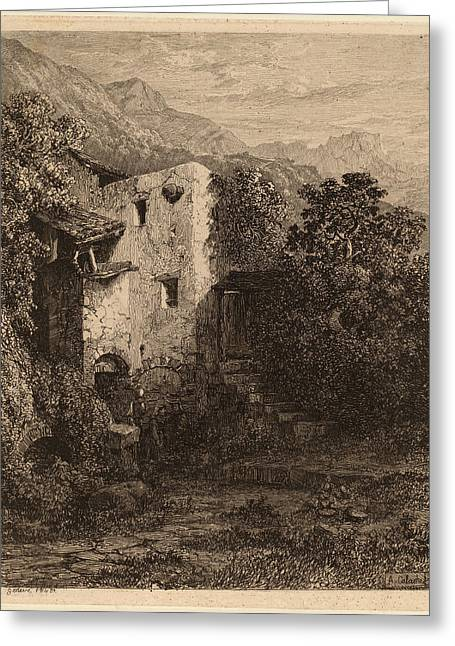 Alexandre Calame, Dilapidated House, Swiss Greeting Card by Quint Lox