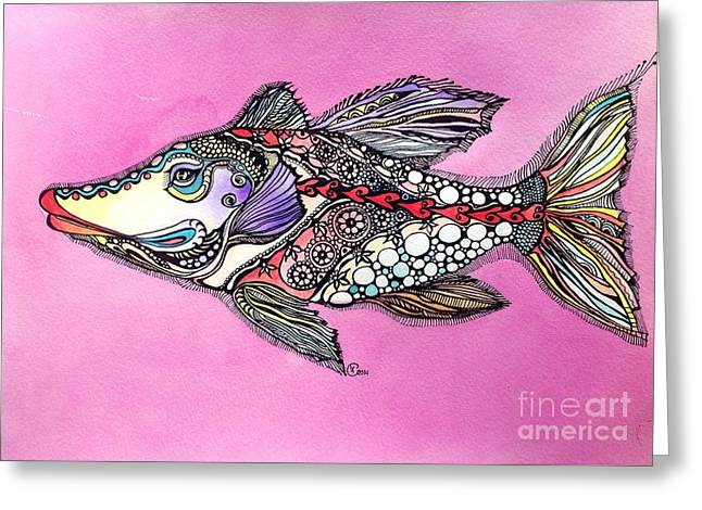 Greeting Card featuring the painting Alexandria The Fish by Iya Carson