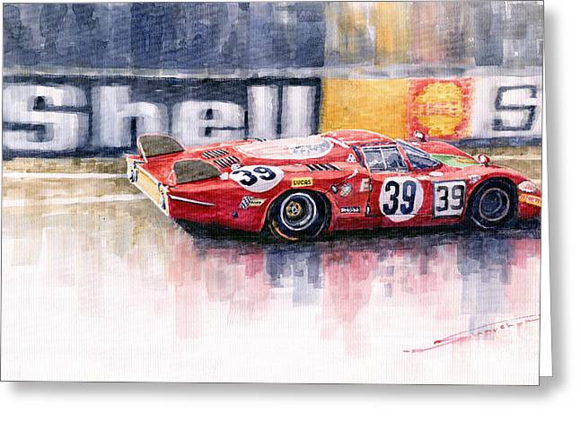 Alfa Romeo T33 B2 Le Mans 24 1968 Galli Giunti Greeting Card by Yuriy  Shevchuk