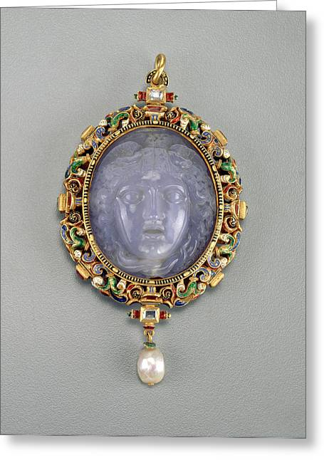 Alfred André French, 1839 - 1919, Pendant With The Head Greeting Card