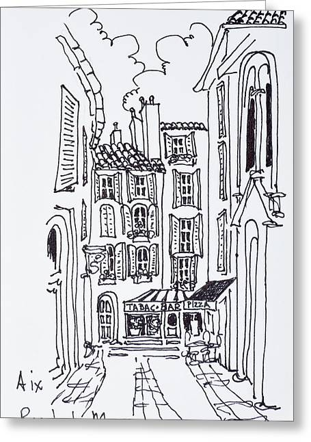 Alfresco Dining In A Plaza, Aix En Greeting Card