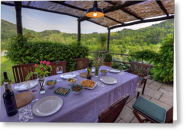 Alfresco Dining In Tuscany Greeting Card
