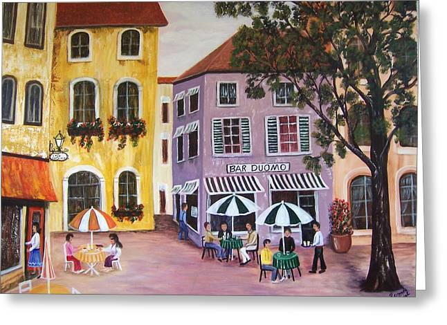 Greeting Card featuring the painting Alfresco by Renate Voigt