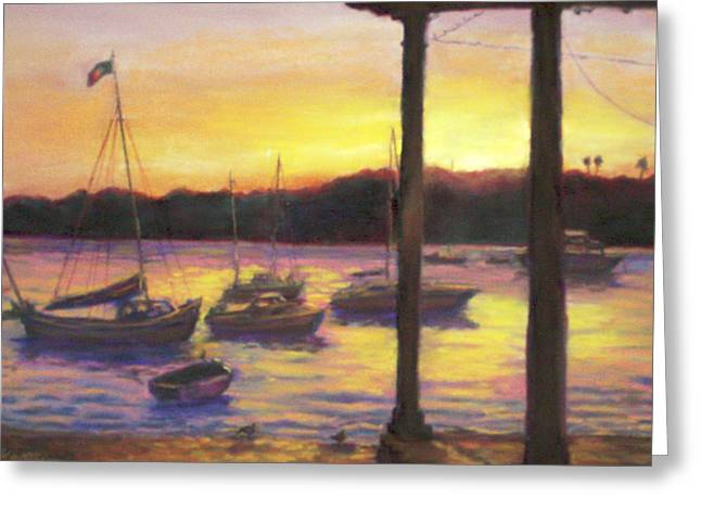 Algarve Sunset Greeting Card by Harriett Masterson