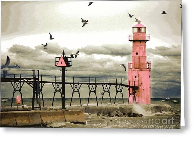 Algoma Pierhead Lighthouse Greeting Card by Wernher Krutein