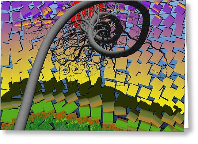 Algorithmic Art - Spiral Tree Greeting Card by GuoJun Pan