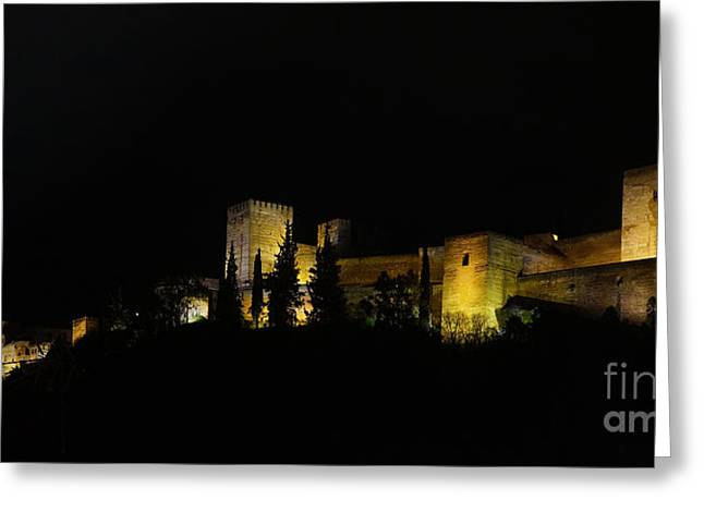 Alhambra At Night Greeting Card by Rudi Prott