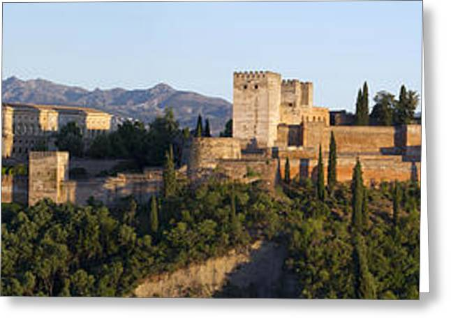 Greeting Card featuring the photograph Alhambra Palace - Panorama by Nathan Rupert