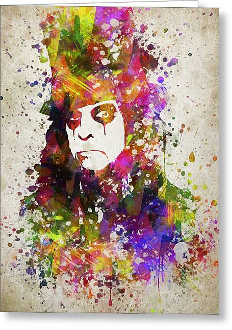 Alice Cooper In Color Greeting Card by Aged Pixel