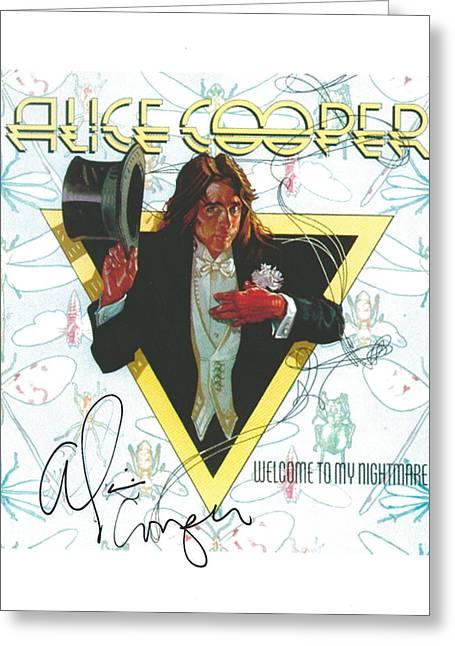Alice Cooper Original Signature On Welcome To My Nightmare Album Artwork. Greeting Card