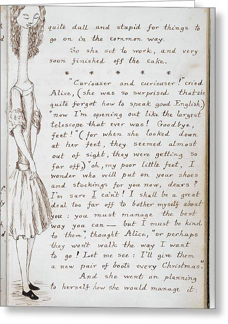 Alice Eats Cake And Grows Tall Greeting Card by British Library