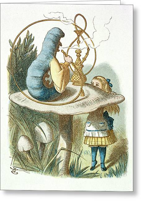 Alice Meets The Blue Caterpillar Greeting Card by British Library