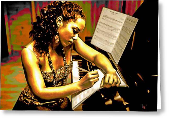 Alicia Keys Greeting Card by  Fli Art