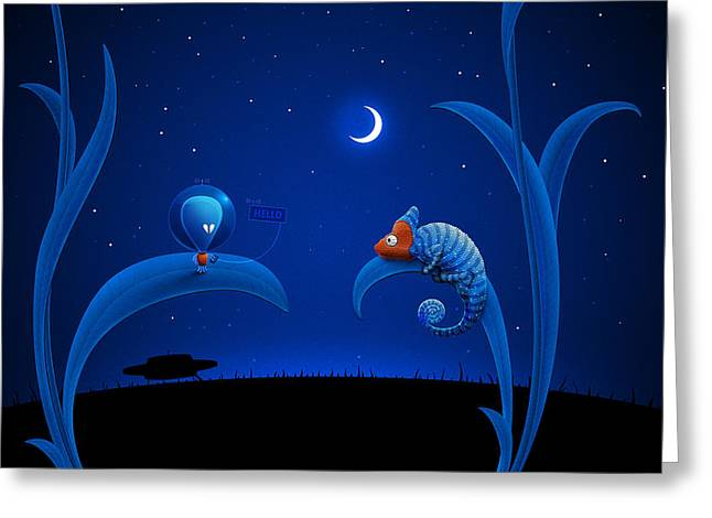 Alien And Chameleon Greeting Card