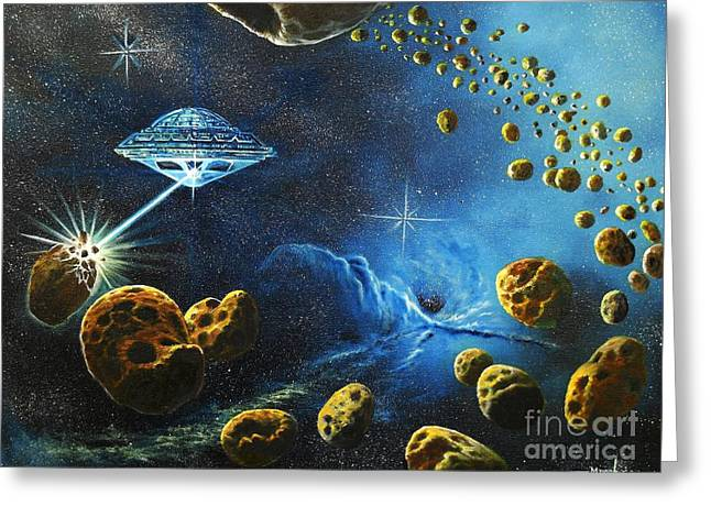 Alien Asteroid Miners From Mars Greeting Card