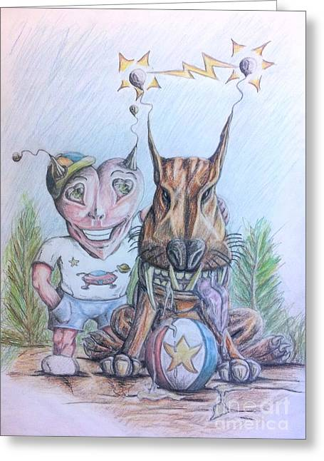Alien Boy And His Best Friend Greeting Card by R Muirhead Art