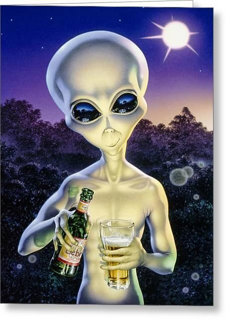 Alien Brew Greeting Card by Steve Read