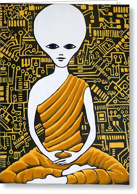 Alien Buddha With Circuit Board Greeting Card by Nathan Winsor