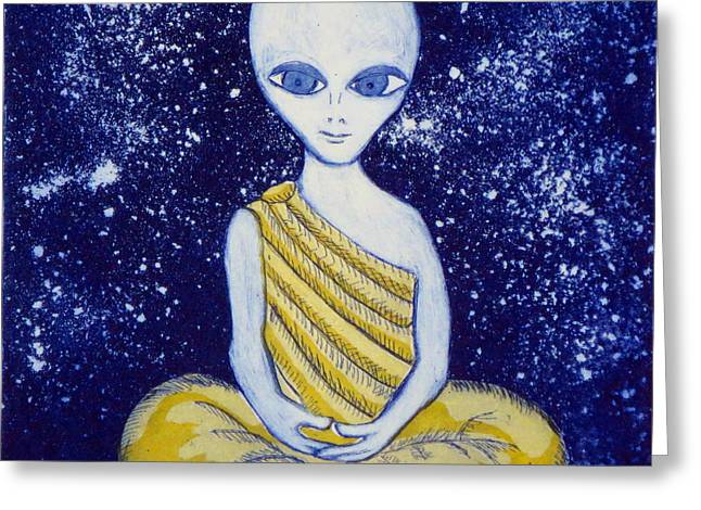 Alien Buddha With Stars Greeting Card by Nathan Winsor