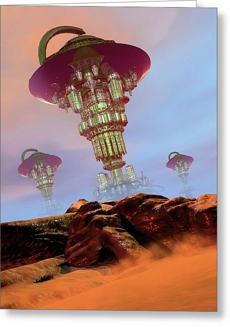 Alien City Greeting Card by Victor Habbick Visions