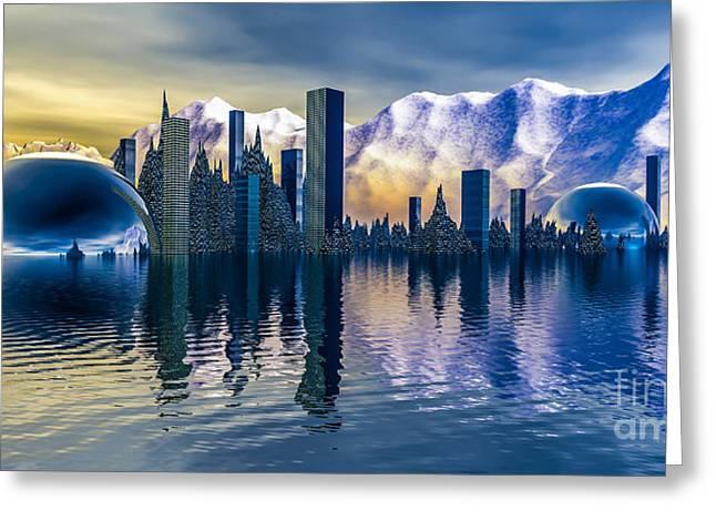 Alien Cityscape  Greeting Card