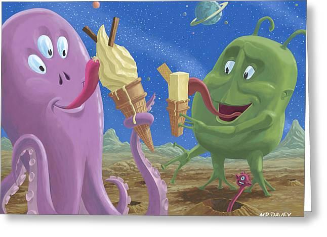 Alien Ice Cream Greeting Card