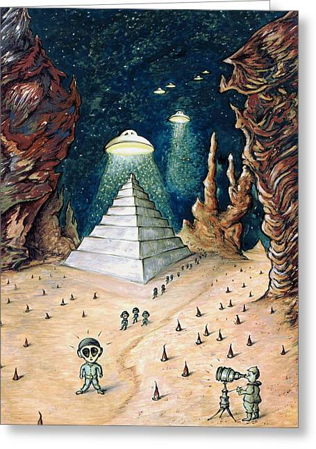 Alien Invasion - Space Art Painting Greeting Card