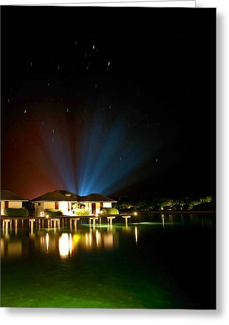 Alien Light At The Tropical Resort Greeting Card by Jenny Rainbow