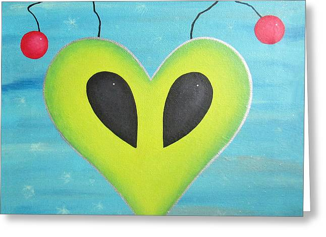 Alien Love Greeting Card by Kristi L Randall
