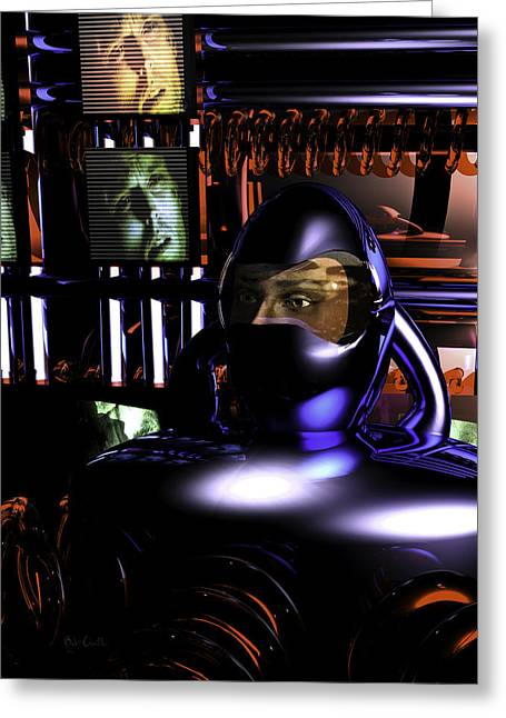 Alien Mind Control Greeting Card by Bob Orsillo