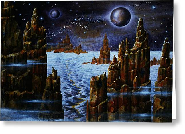 Ice And Snow  Planet  Greeting Card