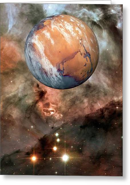 Alien Planet And Carina Nebula Greeting Card by Detlev Van Ravenswaay