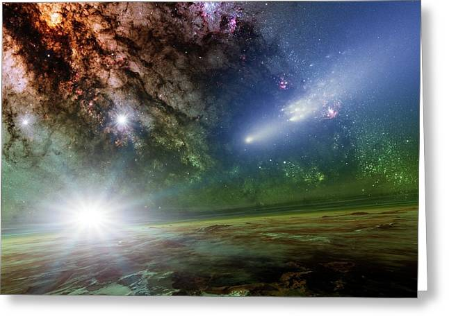 Alien Planet And Comet Greeting Card