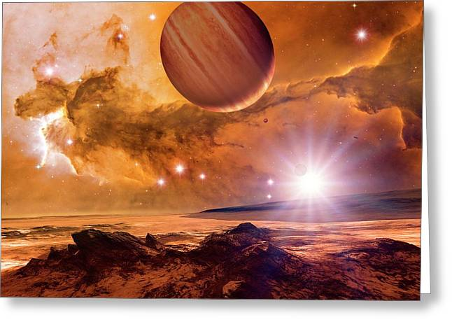 Alien Planet And Eagle Nebula Greeting Card